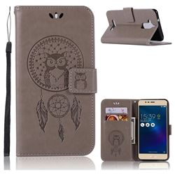 Intricate Embossing Owl Campanula Leather Wallet Case for Asus Zenfone 3 Max ZC520TL - Grey