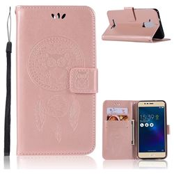 Intricate Embossing Owl Campanula Leather Wallet Case for Asus Zenfone 3 Max ZC520TL - Rose Gold