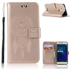 Intricate Embossing Owl Campanula Leather Wallet Case for Asus Zenfone 3 Max ZC520TL - Champagne