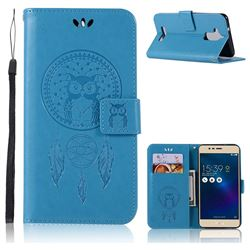 Intricate Embossing Owl Campanula Leather Wallet Case for Asus Zenfone 3 Max ZC520TL - Blue
