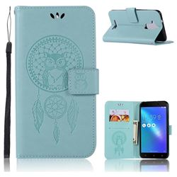Intricate Embossing Owl Campanula Leather Wallet Case for Asus Zenfone 3 Max ZC520TL - Green
