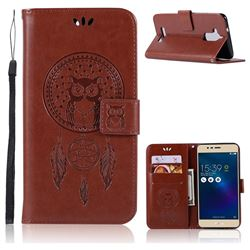 Intricate Embossing Owl Campanula Leather Wallet Case for Asus Zenfone 3 Max ZC520TL - Brown