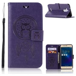 Intricate Embossing Owl Campanula Leather Wallet Case for Asus Zenfone 3 Max ZC520TL - Purple