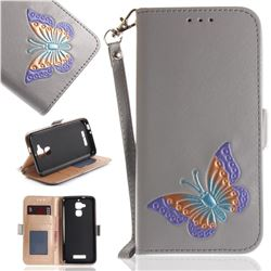 Imprint Embossing Butterfly Leather Wallet Case for Asus Zenfone 3 Max ZC520TL - Grey