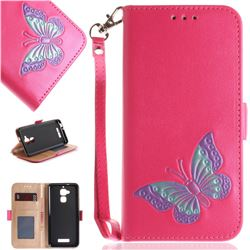 Imprint Embossing Butterfly Leather Wallet Case for Asus Zenfone 3 Max ZC520TL - Rose Red
