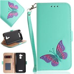Imprint Embossing Butterfly Leather Wallet Case for Asus Zenfone 3 Max ZC520TL - Mint Green