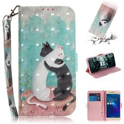 Black and White Cat 3D Painted Leather Wallet Phone Case for Asus Zenfone 3 Max ZC520TL