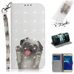 Pug Dog 3D Painted Leather Wallet Phone Case for Asus Zenfone 3 Max ZC520TL