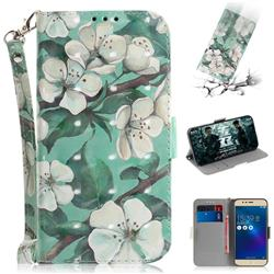 Watercolor Flower 3D Painted Leather Wallet Phone Case for Asus Zenfone 3 Max ZC520TL
