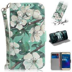 Watercolor Flower 3D Painted Leather Wallet Phone Case for Asus Zenfone 3 Max ZC520TL