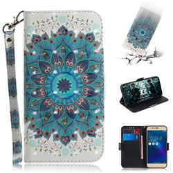Peacock Mandala 3D Painted Leather Wallet Phone Case for Asus Zenfone 3 Max ZC520TL