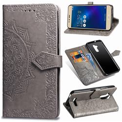 Embossing Imprint Mandala Flower Leather Wallet Case for Asus Zenfone 3 Max ZC520TL - Gray