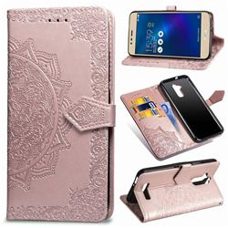Embossing Imprint Mandala Flower Leather Wallet Case for Asus Zenfone 3 Max ZC520TL - Rose Gold
