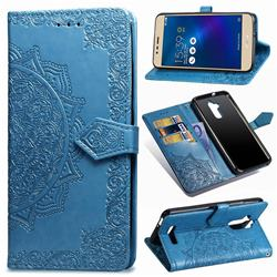 Embossing Imprint Mandala Flower Leather Wallet Case for Asus Zenfone 3 Max ZC520TL - Blue