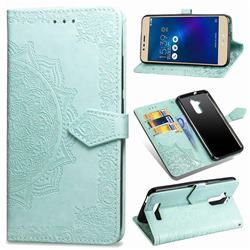 Embossing Imprint Mandala Flower Leather Wallet Case for Asus Zenfone 3 Max ZC520TL - Green