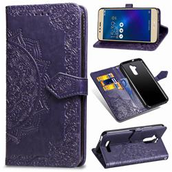 Embossing Imprint Mandala Flower Leather Wallet Case for Asus Zenfone 3 Max ZC520TL - Purple