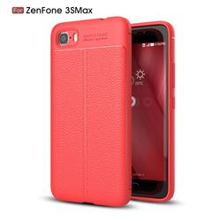 Luxury Auto Focus Litchi Texture Silicone TPU Back Cover for Asus Zenfone 3s Max ZC521TL - Red