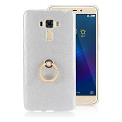 Luxury Soft TPU Glitter Back Ring Cover with 360 Rotate Finger Holder Buckle for Asus Zenfone 3 Laser ZC551KL - White