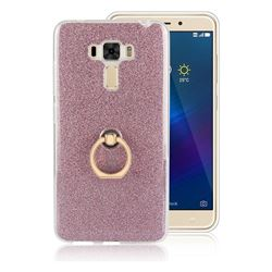 Luxury Soft TPU Glitter Back Ring Cover with 360 Rotate Finger Holder Buckle for Asus Zenfone 3 Laser ZC551KL - Pink