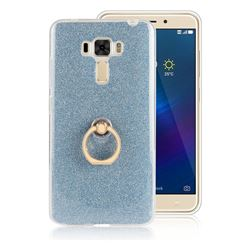 Luxury Soft TPU Glitter Back Ring Cover with 360 Rotate Finger Holder Buckle for Asus Zenfone 3 Laser ZC551KL - Blue