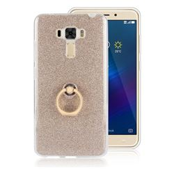 Luxury Soft TPU Glitter Back Ring Cover with 360 Rotate Finger Holder Buckle for Asus Zenfone 3 Laser ZC551KL - Golden