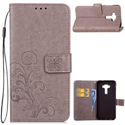 Embossing Imprint Four-Leaf Clover Leather Wallet Case for Asus Zenfone 3 Laser ZC551KL - Grey