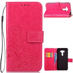 Embossing Imprint Four-Leaf Clover Leather Wallet Case for Asus Zenfone 3 Laser ZC551KL - Rose