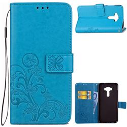 Embossing Imprint Four-Leaf Clover Leather Wallet Case for Asus Zenfone 3 Laser ZC551KL - Blue