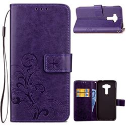 Embossing Imprint Four-Leaf Clover Leather Wallet Case for Asus Zenfone 3 Laser ZC551KL - Purple
