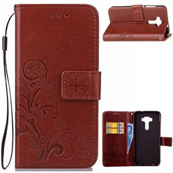 Embossing Imprint Four-Leaf Clover Leather Wallet Case for Asus Zenfone 3 Laser ZC551KL - Brown