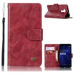 Luxury Retro Leather Wallet Case for Asus Zenfone 3 Laser ZC551KL - Wine Red