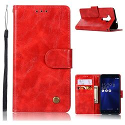 Luxury Retro Leather Wallet Case for Asus Zenfone 3 Laser ZC551KL - Red