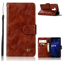 Luxury Retro Leather Wallet Case for Asus Zenfone 3 Laser ZC551KL - Brown