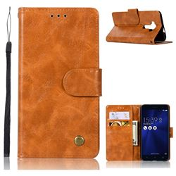 Luxury Retro Leather Wallet Case for Asus Zenfone 3 Laser ZC551KL - Golden