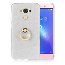 Luxury Soft TPU Glitter Back Ring Cover with 360 Rotate Finger Holder Buckle for Asus Zenfone 3 Max ZC553KL - White