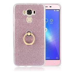 Luxury Soft TPU Glitter Back Ring Cover with 360 Rotate Finger Holder Buckle for Asus Zenfone 3 Max ZC553KL - Pink