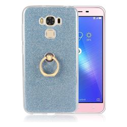 Luxury Soft TPU Glitter Back Ring Cover with 360 Rotate Finger Holder Buckle for Asus Zenfone 3 Max ZC553KL - Blue
