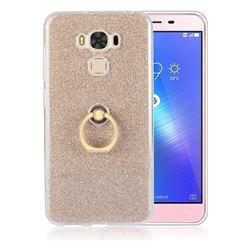 Luxury Soft TPU Glitter Back Ring Cover with 360 Rotate Finger Holder Buckle for Asus Zenfone 3 Max ZC553KL - Golden