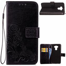 Embossing Imprint Four-Leaf Clover Leather Wallet Case for Asus Zenfone 3 Max ZC553KL - Black