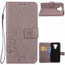Embossing Imprint Four-Leaf Clover Leather Wallet Case for Asus Zenfone 3 Max ZC553KL - Grey