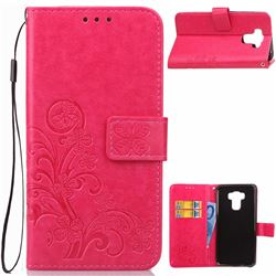 Embossing Imprint Four-Leaf Clover Leather Wallet Case for Asus Zenfone 3 Max ZC553KL - Rose
