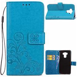 Embossing Imprint Four-Leaf Clover Leather Wallet Case for Asus Zenfone 3 Max ZC553KL - Blue