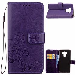 Embossing Imprint Four-Leaf Clover Leather Wallet Case for Asus Zenfone 3 Max ZC553KL - Purple