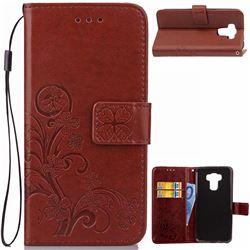 Embossing Imprint Four-Leaf Clover Leather Wallet Case for Asus Zenfone 3 Max ZC553KL - Brown