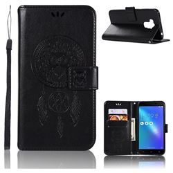Intricate Embossing Owl Campanula Leather Wallet Case for Asus Zenfone 3 Max ZC553KL - Black