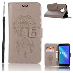 Intricate Embossing Owl Campanula Leather Wallet Case for Asus Zenfone 3 Max ZC553KL - Grey