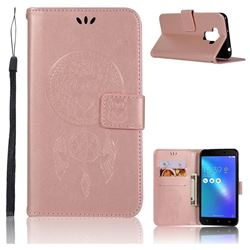 Intricate Embossing Owl Campanula Leather Wallet Case for Asus Zenfone 3 Max ZC553KL - Rose Gold