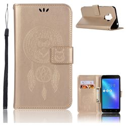 Intricate Embossing Owl Campanula Leather Wallet Case for Asus Zenfone 3 Max ZC553KL - Champagne