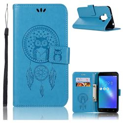 Intricate Embossing Owl Campanula Leather Wallet Case for Asus Zenfone 3 Max ZC553KL - Blue