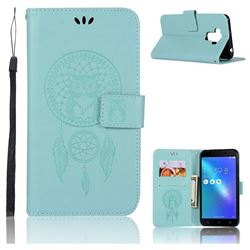 Intricate Embossing Owl Campanula Leather Wallet Case for Asus Zenfone 3 Max ZC553KL - Green